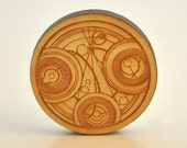 Doctor circular script Fanart brooch etched into birchwood