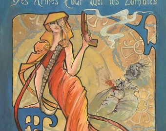 Zombie Apocalypse Print of Mucha inspired Advertisement for Sawed-off Shotguns