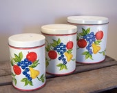 Vintage Set of Three Fruit Tin Canisters - Sale