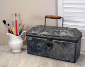 Country Cute Galvanized Storage Tote Toolbox