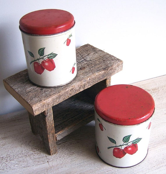 Tin Canisters in Red Apple Decoware