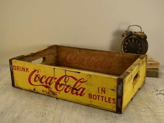 Vintage Coca-Cola Soda Pop Crate in yellow and red