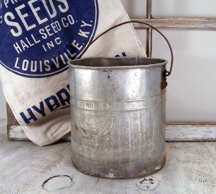 Vintage metal farm bucket for Old metal buckets