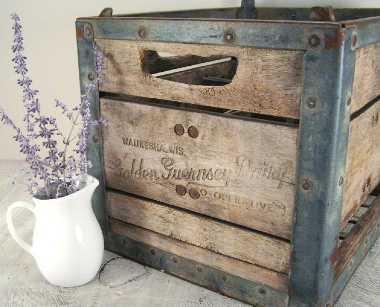 wooden dairy milk crate from golden guernsey dairy