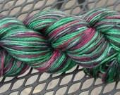 Hand Dyed Silk Merino Sock Yarn -- Hummingbird