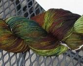 Hand Dyed Superwash Merino Sock Yarn -- Swamp Thing