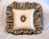 Silk Vintage Brooch Decorative Pillow