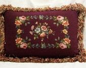 Burgandy Floral Needlepoint Velvet Pillow