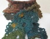 Scarf, cowl, neckwarmer, lace, warm, floral, long, fuzzy, multicolor, petals