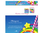 Premade Etsy Shop Banner and business card set - Rainbow - you choose the Font