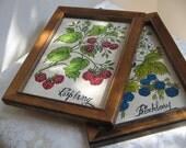 Vintage Fruit Botanicals Wall Art Raspberry Blackberry Rustic Woodlands