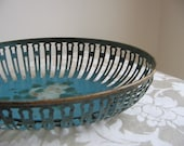Vintage Metal Basket Germany Teal Blue Shabby Rose Rusty Art Deco Bowl STUNNING