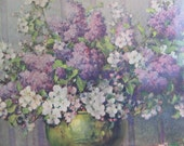 Vintage Floral Art Print Carle J. Blenner 1930's -  Lilacs & Apple Blossoms Lithograph Wall Art
