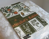 """Vintage Botanicals Linen Tea Towel By Kay Dee Handprints """"A Naturalist's Notebook"""" Unused Mint Condition With Label RARE"""