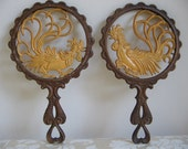 Vintage Rooster Trivets Metal Pot Holder Pair by Sexton, Rustic Farmhouse, French Country