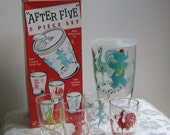 "Vintage Mid Century Barware Circus Animals Turquoise Red ""After Five"" Set, Glass Shaker Four Glasses Box PARTY ANIMALS"