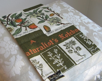 "Vintage Botanicals Linen Tea Towel By Kay Dee Handprints ""A Naturalist's Notebook"" Unused Mint Condition With Label RARE"