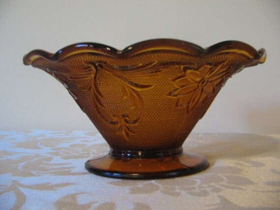 Vintage Depression Glass Amber Pedestal Bowl - Anchor Hocking Sandwich Pattern