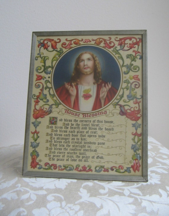 Vintage Jesus House Blessing Art Nouveau Sacred Heart, Religious Icon, Framed Art Print - Poem by Arthur Guiterman - Italy