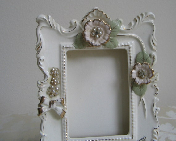 Vintage Ceramic Frame by Thames, Hand Painted Ivory Pink Gold FABULOUS
