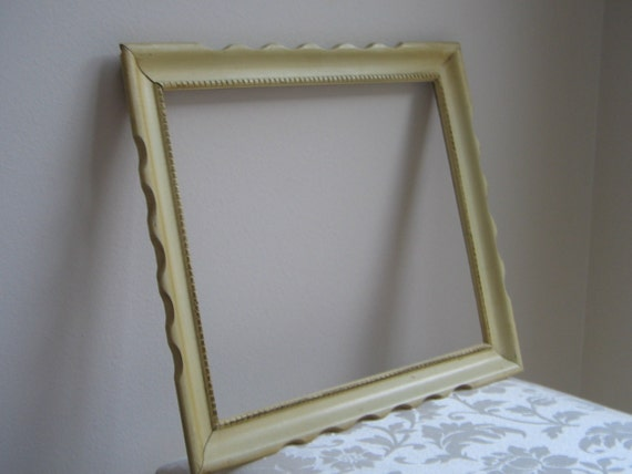 Vintage Wood Picture Frame Carved Cream Gold Shabby Rustic Cottage
