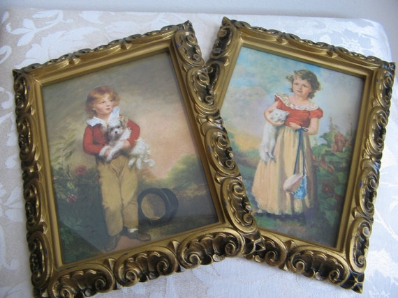 Vintage Children Portraits Ornate Framed Wall Art Chums By