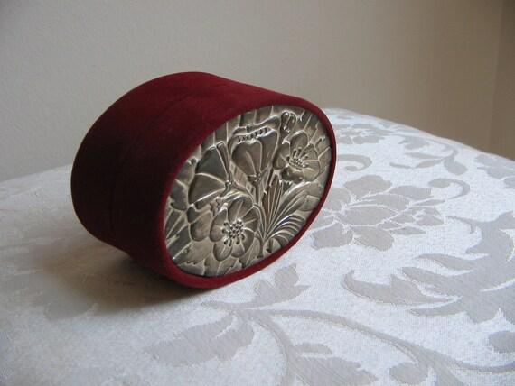 Vintage Embossed Metal Box Oxblood Velvet Jewelry Trinket, Burgundy Crimson