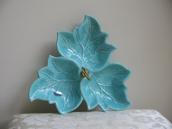 Vintage California Pottery Turquoise,  Divided Handle Leaf Tray, Sylvan's Mid Century MAD MEN