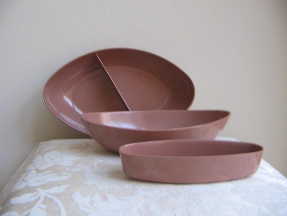 Vintage Melmac Bowls by MarCrest Melamine Set of Three Brown Mocha Rose Pink Mid Century Modern