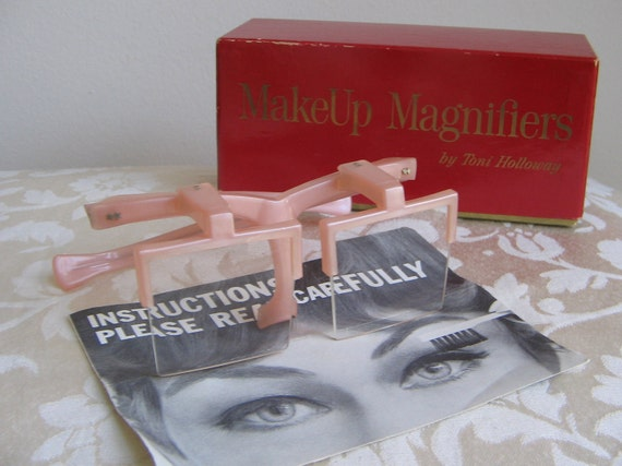 Vintage MakeUp Magnifiers by Toni Holloway Mid Century PINK Magnifying Glasses RARE