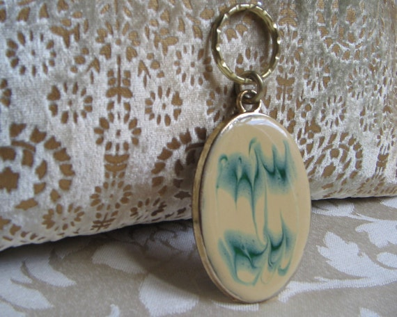 Vintage Abstract Enamel Key Chain Mid Century Modern Pendant, Teal Blue Vanilla Gold