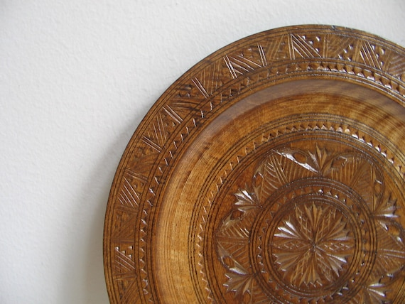 Vintage Carved Wood Plate Folk Art Rustic Bohemian Wall Art