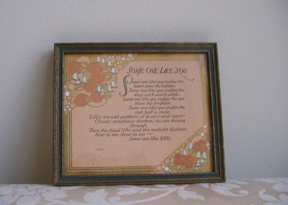 "Vintage Art Motto Print ""Some One Like You"" Art Deco Framed"