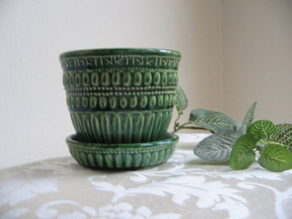 Vintage McCoy Planter Green Pottery Flower Pot