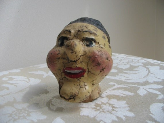 Vintage Paper Mache Head Marionette Puppet, Punch & Judy, OLD Freaky