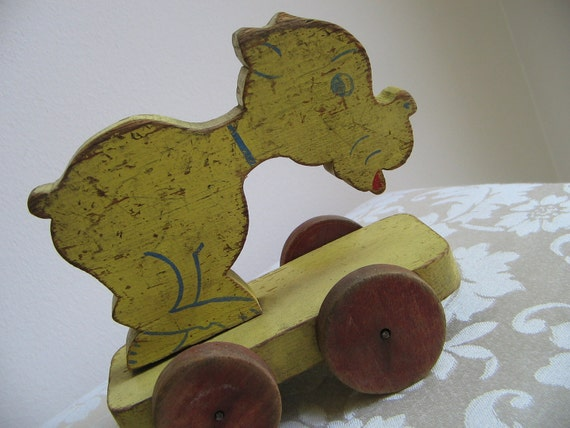 Vintage Wood Pull Toy Dog 1950s Yellow Red Blue Rustic Primitive Folk Art