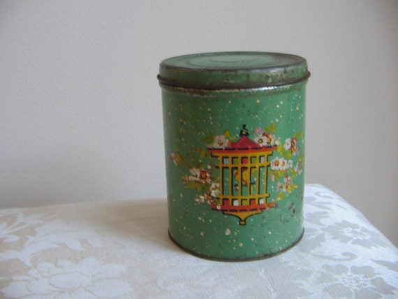 Vintage Tin Bird Cage Metal Container, Shabby Chippy Mint Green Canister
