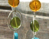 Sterling Hoop Earrings With Topaz, Aqua And Olive Czech Glass  Discs - Retro Look Earrings By Inspired Jewelry Designs