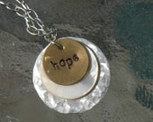 Hand Stamped Mixed Metals Stack Necklace With Mother Of Pearl Disc - Hope By Inspired Jewelry Designs