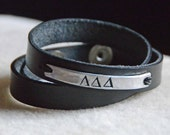 Hand Stamped Customizable Leather Double Wrap Cuff By Inspired Jewelry Designs