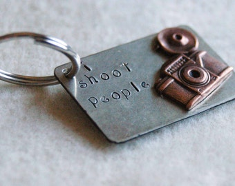 Hand Stamped  Silver Keyring With Camera - I Shoot People Version 2 By Inspired Jewelry Designs
