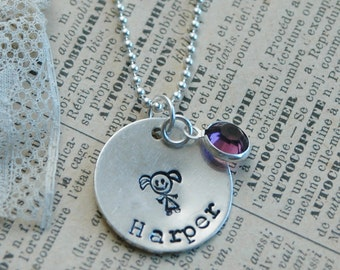 Hand Stamped Mommy Necklace - Sterling Silver Stick Figure Necklace With Swarovski Channel Set Birthstone By Inspired Jewelry Designs