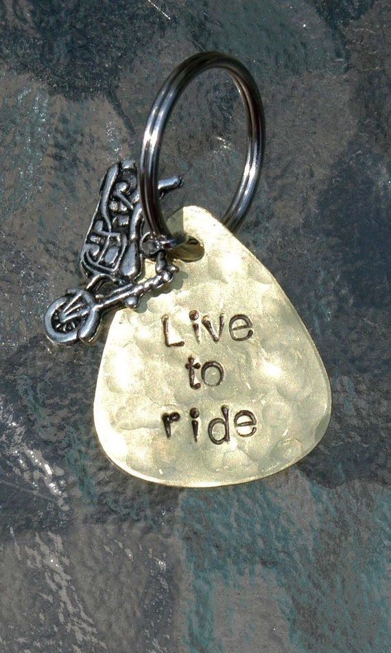 Hand Stamped Brass Guitar Pick Keyring With Silver Motorcycle Charm - Live To Ride By Inspired Jewelry Designs