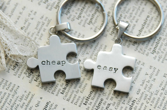 Hand Stamped Puzzle Piece Keychain - Stainless Steel, Personalized By Inspired Jewelry Designs