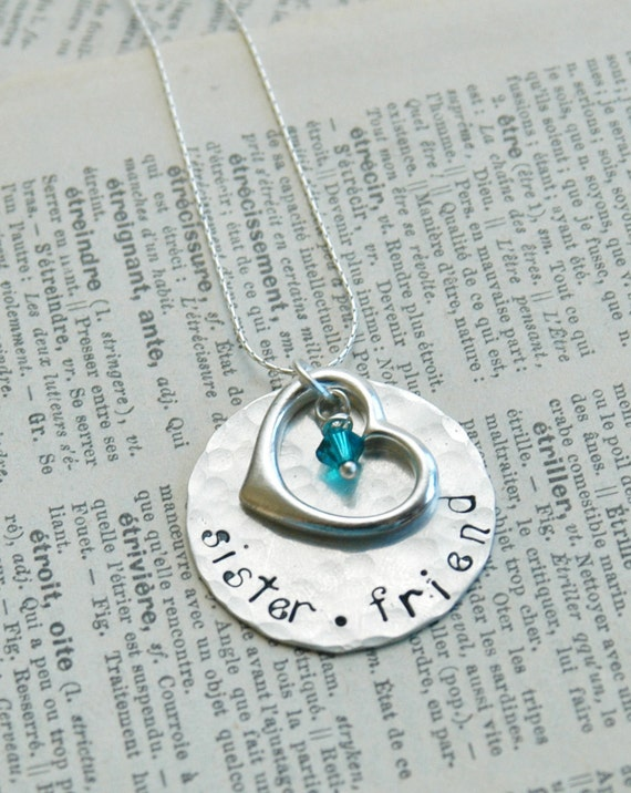Hand Stamped Sterling Necklace With Floating Heart Charm And Swarovski Birthstone - Sister Friend By Inspired Jewelry Designs