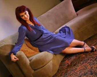 Vintage 70s Wrap Dress in Indigo, Size M / Secretary Disco Wrap Dress