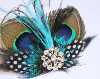 Peacock Feather Fascinator, Wedding Fascinator Hairclip