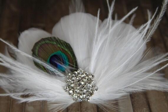 White Feather Wedding Fascinator, Peacock Fascinator