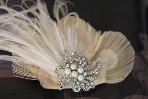Ivory  Beige Peacock Feathers  Wedding Fascinator