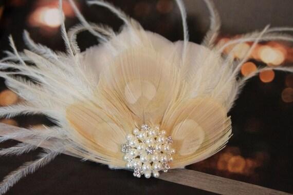 Ivory  white Beige Peacock Feathers  Wedding Fascinator